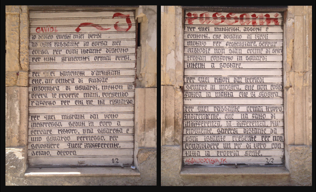 Paola Grassi, Poesia di strada in polittico, Lecce